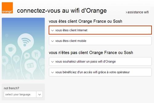 page accueil connexion au wifi d'Orange
