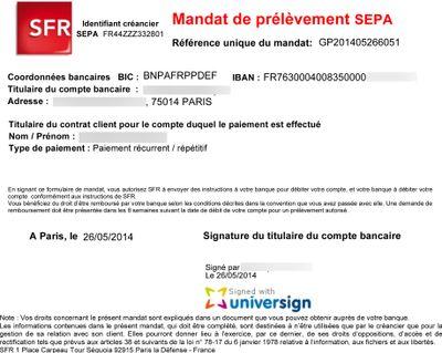 PRÉLÈVEMENT SFR MANDAT SEPA DE TÉLÉCHARGER