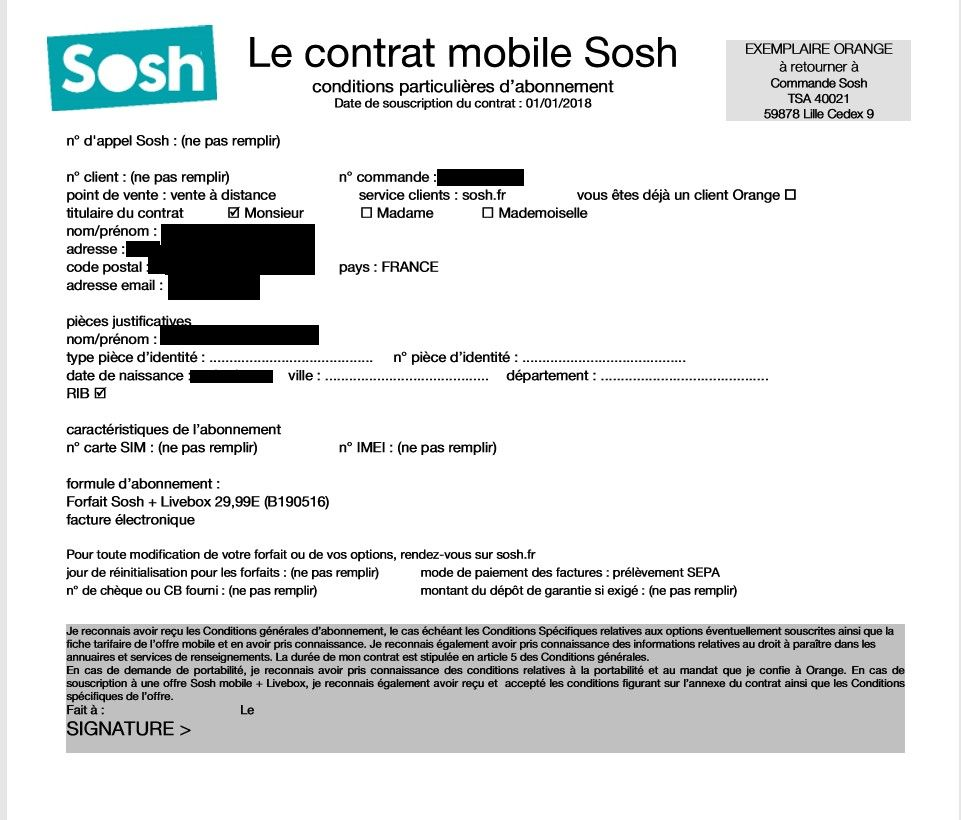 Contrat Mobile Sosh Rempli A Renvoyer Encore Une Communaute Sosh