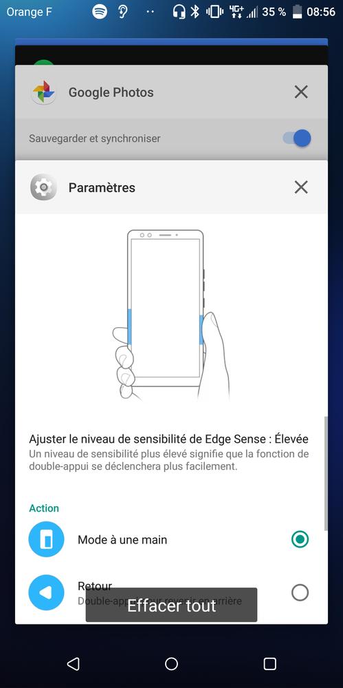 Paramétrage de HTC Edge Sense