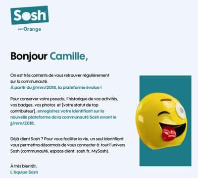 Evolution de l'authentification sur la Communauté Sosh