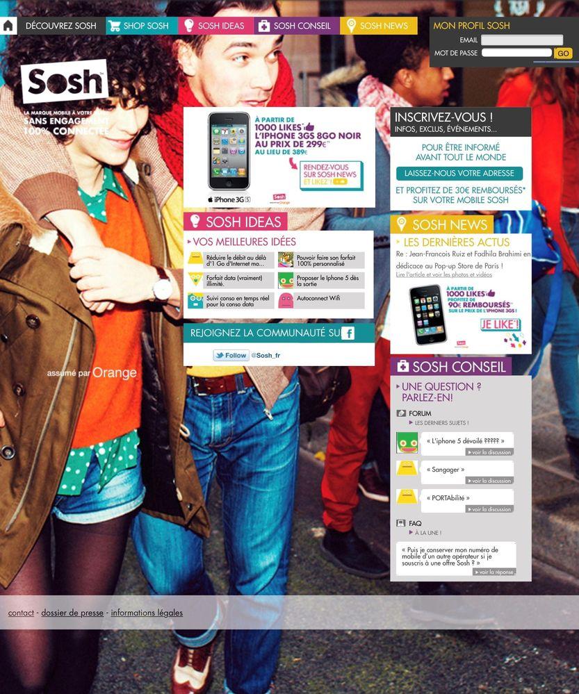 La page d'accueil de Sosh en 2011