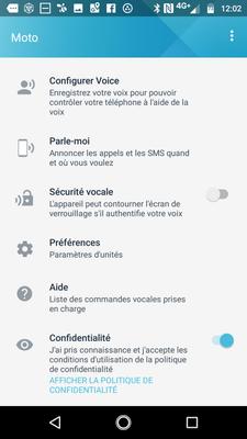 Configuration Moto Voice