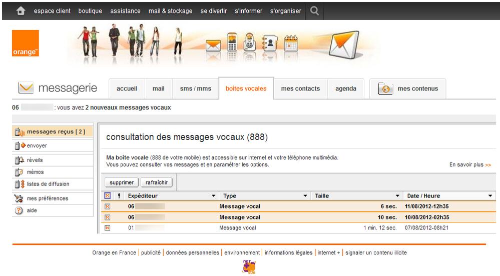 ecouter message mobile orange depuis fixe