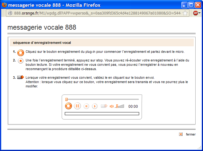 plug-in messagerie vocale 888
